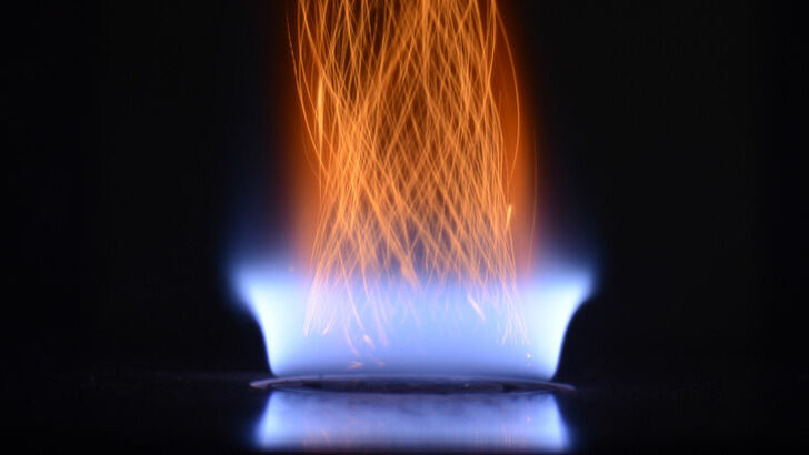 Coal-seeded gas flame
